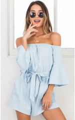 Against The Tide playsuit in light blue