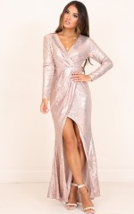 Athena maxi dress in gold sequin