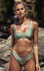 Babetown Bikini Top in  sage metallic