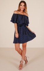 Be Yourself dress in navy stripe