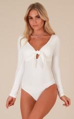 Born To Move bodysuit in white