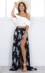 Breath Of Fresh Air maxi skirt in navy floral