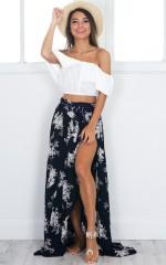 Breath Of Fresh Air maxi skirt in navy floral