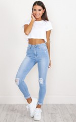 Brooke Skinny Jeans in Light Wash Denim