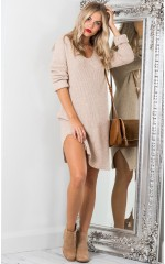 On The Floor knit dress in beige