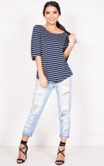 Attica T-shirt in navy stripe