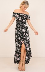 Call Me Babe maxi dress in black floral