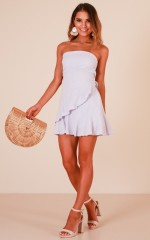 Calm Waves dress in blue linen look