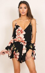 Cant Believe playsuit in black floral