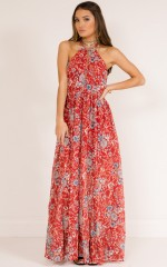 Cant Trust You maxi dress in red print