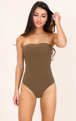 Caught In It bodysuit in khaki