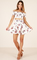Change My Life two piece set in white floral