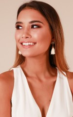 Dance Floor Romance earrings in gold and cream