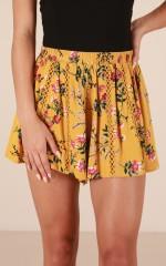 Dear Girl shorts in mustard floral