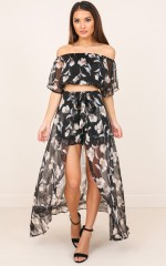 Easily Distracted two piece set in black floral