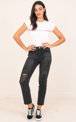 Emma Mum Jeans in Black Denim