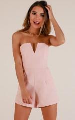 Feeling Ecstatic playsuit in blush linen look