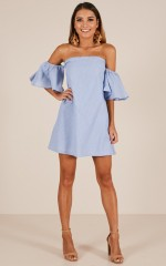 Flare To Spare dress in blue stripe