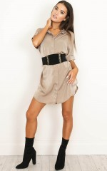 Good Times shirt dress in  mocha