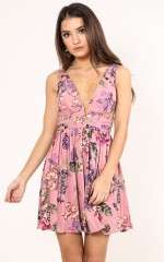 How Much Nicer dress in mauve floral