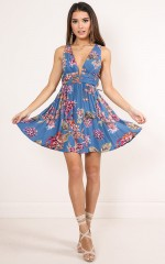 How Much Nicer dress in blue floral