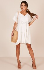 Inspire Me dress in white linen look