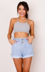 Into Your Heart crop top in grey