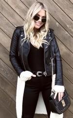 Been So Long biker jacket in black leatherette