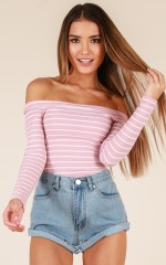Keep It Going top in pink stripe