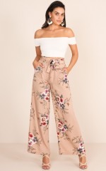 Kiss From A Rose Pants in mocha floral