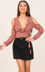 Lets Get Romantic crop top in mauve lace