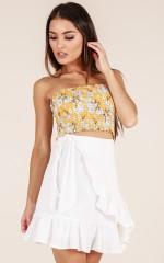 Listen Up skirt in white linen look
