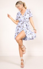 Love On Me dress in blue floral