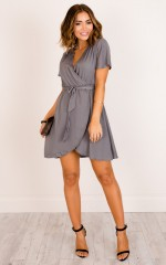 Love On Me dress in dark grey