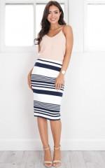 Love Pearls skirt in navy stripe