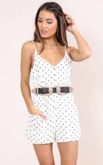 Kiss of Love playsuit in white polkadot