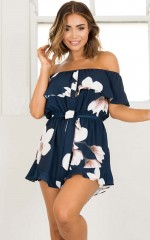 Love You Down playsuit in navy print