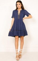 Loveland shift dress in navy lurex