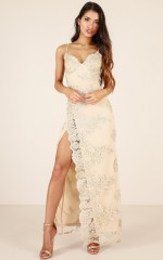 Marry The Night maxi dress in gold lace