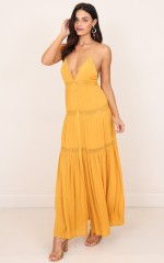 Meet Me There maxi dress in mustard