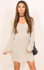 Midnight River knit dress in beige