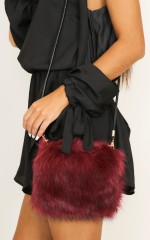 Fluffy Dreaming purse in wine faux fur