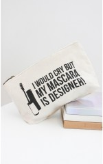 My Mascara makeup bag in cream canvas