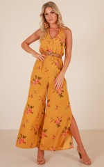 Most Wanted jumpsuit in mustard floral