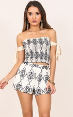 My Whole Life two piece set in cream print