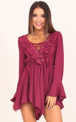 Need Some Sweetness playsuit in wine