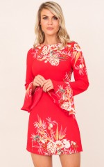 Next Level dress in red floral