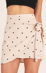 Nobody Knows skirt in mocha polka dot