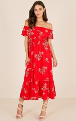 Notre Dame maxi dress in red floral