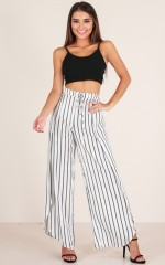 On The Radio pants in white stripe